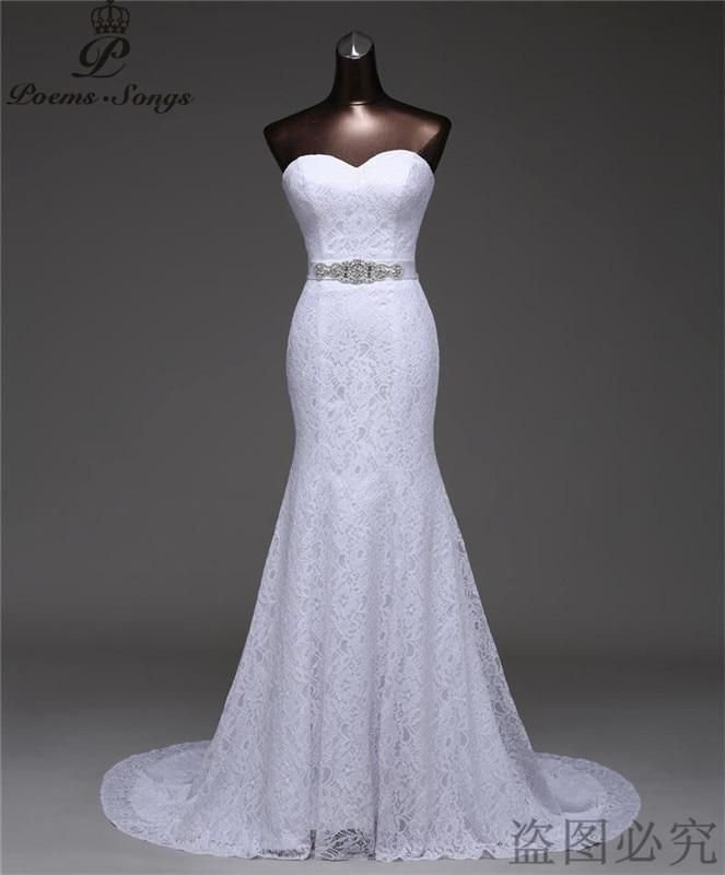Free shipping beautiful Crystal belt bandage Sexy mermaid Wedding Dresses vestidos de noiva robe de mariage
