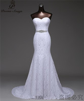 Real Photo Free Shipping Low Price Very Sexy Waist With Pearl Tassel Mermaid Wedding Dresses Vestidos