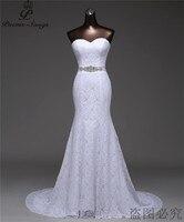 Free shipping beautiful Crystal belt bandage Sexy mermaid Wedding Dresses vestidos de noiva robe de mariage Bridal gown G530