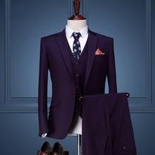 men clothing Coat Pant Designs Wedding Suits For Men Slim Fit Suits Mens Groom Purple Tuxedos Single Button 3 Pcs Set