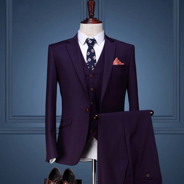 Men Clothing Coat Pant Designs Wedding Suits For Slim Fit Mens Groom Purple Tuxedos
