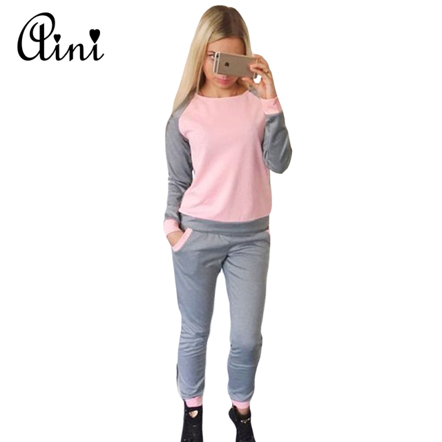 2017 Hot Sale Spring Style Sweat Shirt Patchwork Tracksuit Women Long Pants Pullover Tops Womens Set Women Suits Plus Size S-XL