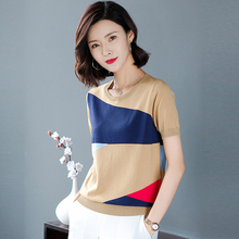 White Color Block Cut-and-Sew knitting Panel Top Short Sleeve O-Neck Casual T Shirt Women 2019 Summer Leisure Tshirt Tops недорого