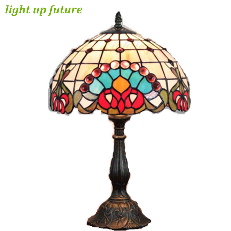 Vintage Exotic Glass Dia 30cm led E27 Tiffany Table Lamp for living Room Bar Restaurant Wedding Decor Lamp AC 80-265V 2050