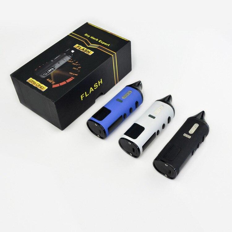 Lvfumée Flash herbe sèche et cire 2-en-1 Kit de démarrage Cigarette électronique Kit de vaporisateur à base de plantes 1600 mAh batterie écran LED TC Vape