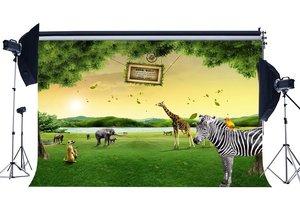 Image 1 - Zoo Park Backdrop Animals World Backdrops Zebra Giraffe Jungle Forest Green Grass Meadow Background