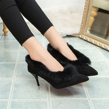 Winter High Heels Shoes Woman Luxury Brand Suede Pointed