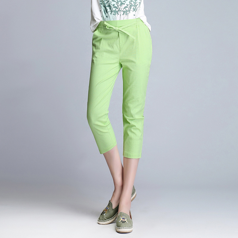 c8044013da3 Aliexpress.com   Buy Summer Casual Calf Length Pants Women s PLus Size 4XL  White Black Capris Pants Cotton Linen Vintage Drawstring Trousers from  Reliable ...