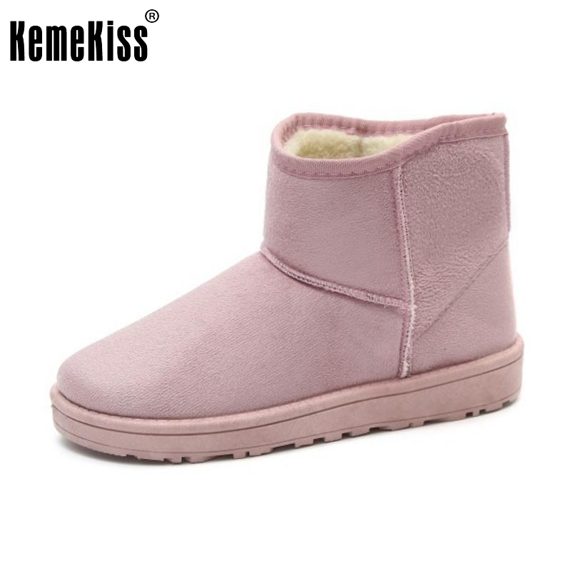 KemeKiss 9 Colors Women Winter Shoes Snow Boots Warm Fur Shoes Half Short Boots Women Mid Calf Botas Women Footwear Size 36-40 new fashion winter snow boots women imitation fox fur snow boots mid calf winter shoes boots for women australia botas bls 056