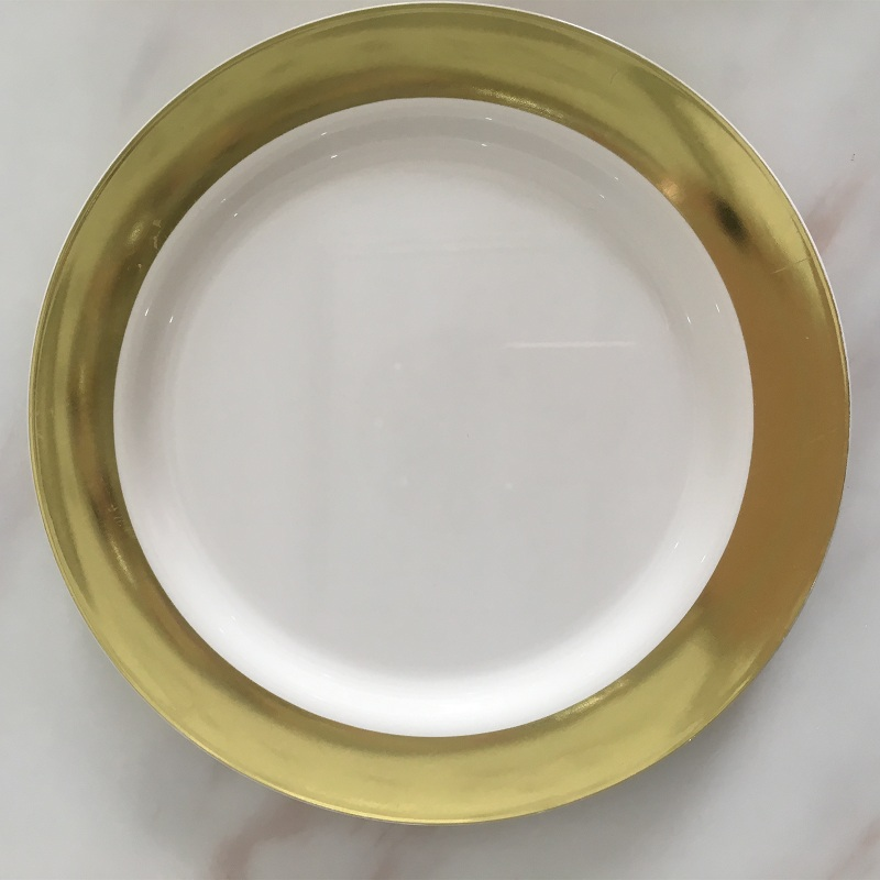 Disposable Plastic Plate Eco-Friendly Bronze Golden Round Dish Plate Fruit Plates Home Storage Tray for Wedding&Party serveware