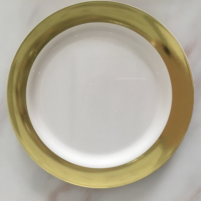 10 inches Disposable Plastic Plate Eco-Friendly Bronze Golden Round Dish Plate Fruit Plates Home & 10 inches Disposable Plastic Plate Eco Friendly Bronze Golden Round ...