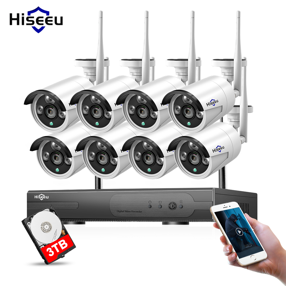 1080 p 8CH 3 t HDD Sistema di Telecamere tvcc Wireless 960 p Macchina Fotografica del IP di WIFI NVR Kit di Sicurezza Esterna Video sistema di sorveglianza Hiseeu