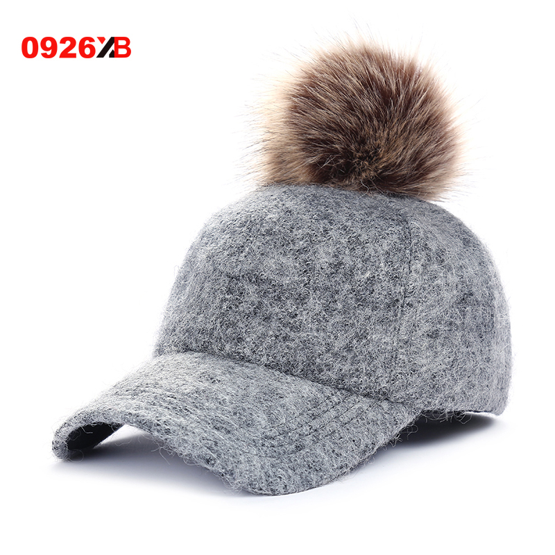 0926XB Fashion Pompom Hat Women Baseball Caps Real Racoon Fur Pom Poms Hats for Women Visor Casquette Hats Female Cap XB-B552 am 292 фигурка жадная мышь латунь янтарь 1193042