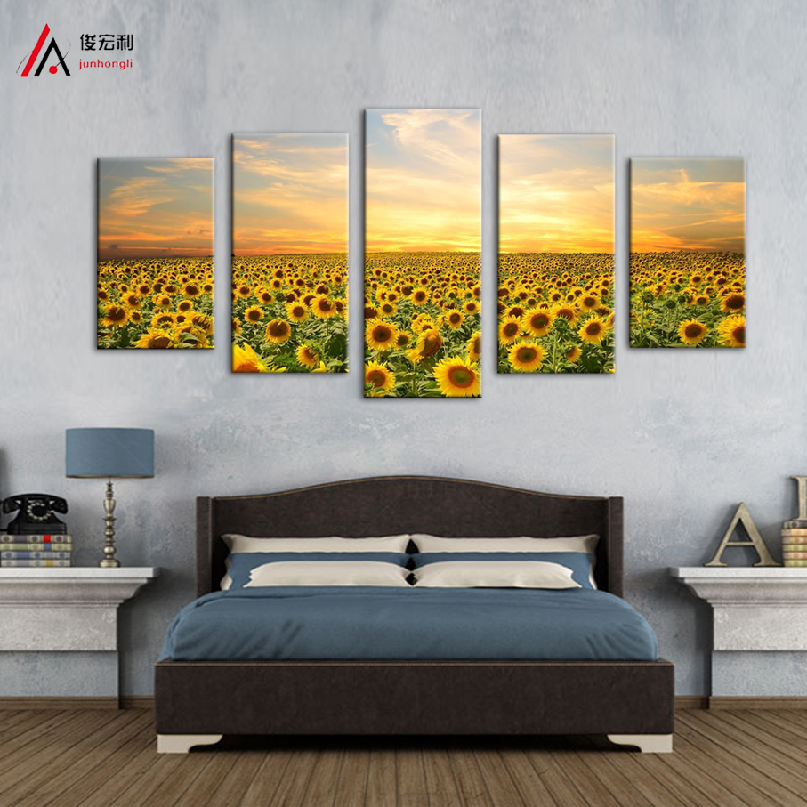 5 Panels Landscape Painting printed on Canvas Home Decoration Wall ...
