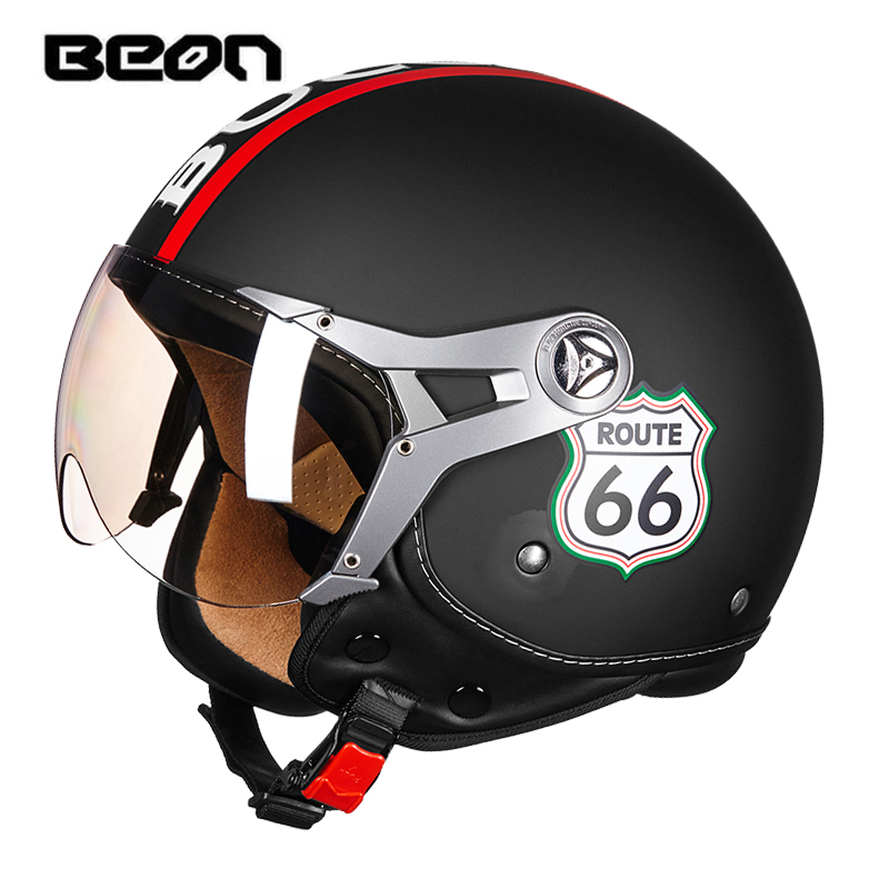 hot sale BEON motorcycle helmet vintage mens womens moto capacete half face helmet ECE Approved B100-in Helmets from Automobiles & Motorcycles    1