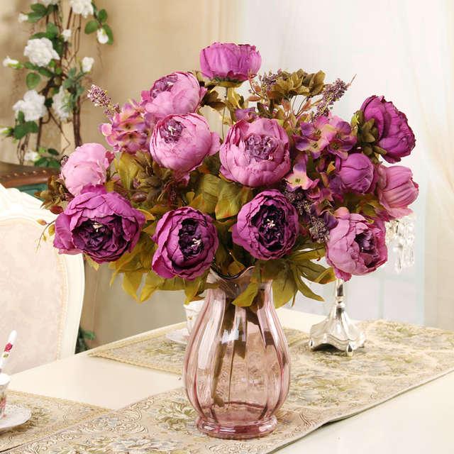 f270c2f846 8 heads/Bouquet Elegant Artificial Peony Silk Flowers home Wedding Party  Decor artificial flower bouquet Decoration Flowers