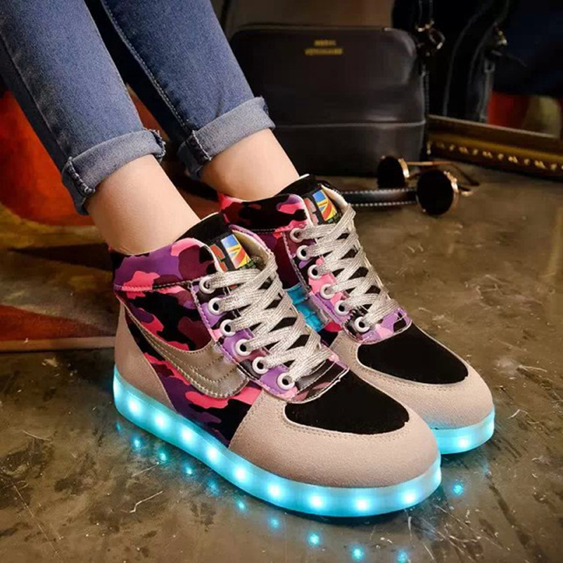 2016 New Winter High Top Led Shoes For Adults Luminous Glowing Women Led Casual Shoes With Light Usb Charging Rechargeable Shoe led shoes for adults women casual shoes 2016 new fashion men canvas shoes