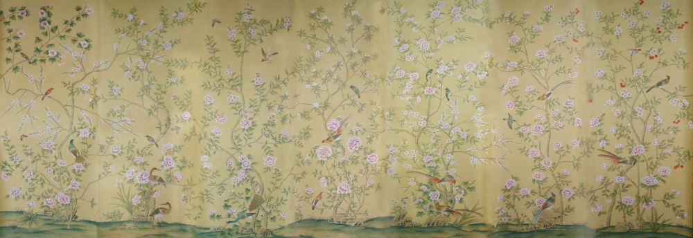 Classic elegant Hand-painted silk wallpaper customized painting flower with birds wallcovering many patterns/background optional