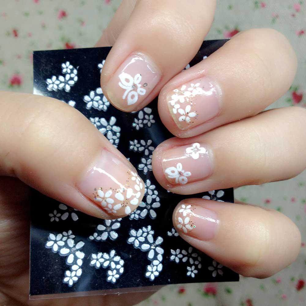 50 Sheet/Set 3D Floral Design Nail Stickers Decals Fashion Mix Color ...