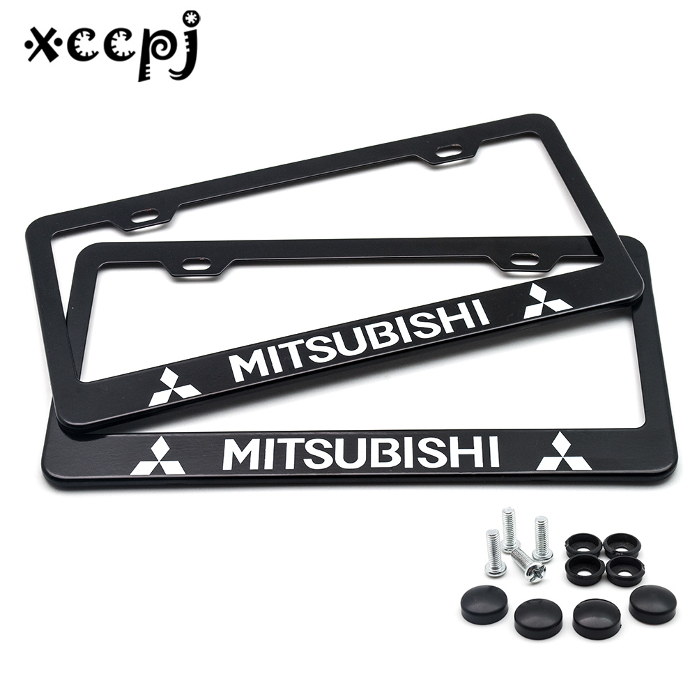 2 Pcs Stainless Steel  Universal Holes Black Car License Plate Frame Number Plate Holder With 4 Chrome Screw Caps For MITSUBISHI