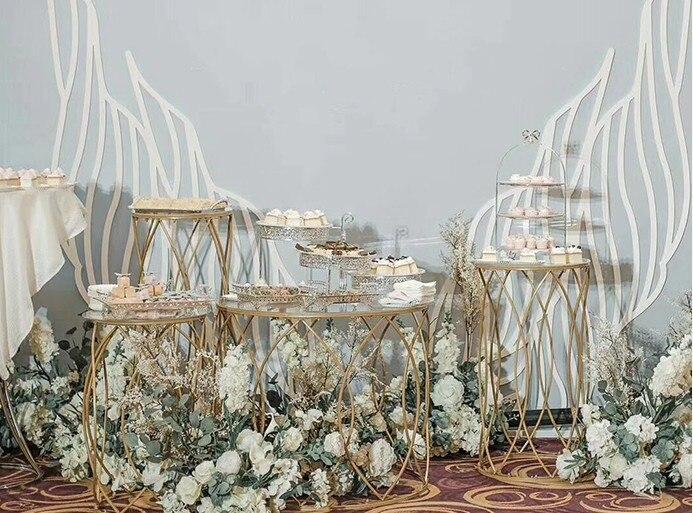 5 pièces table à dessert ronde porte vase à fleurs grand support de gâteau centres de table de mariage fête d'anniversaire gâteau cupcake table affichage - 3