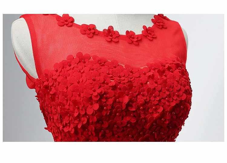 New Red Dress Damigella D'onore Lunga Appliques Bordare Senza Maniche Champagne Rosa Grigio Bianco Turchese Promenade Vestido De Festa Longo