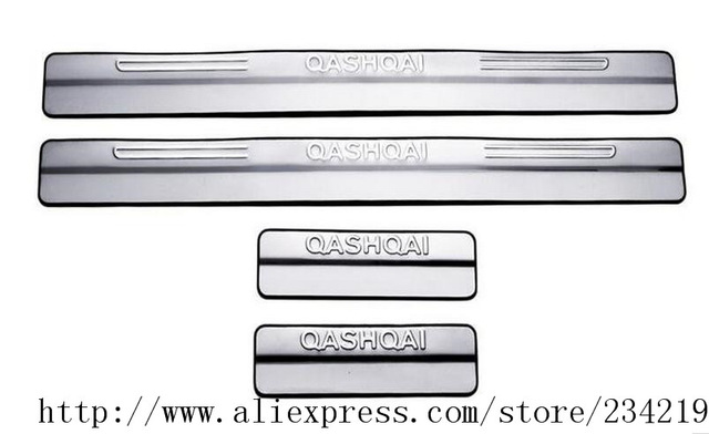 Prix pour 4 pcs/ensemble en acier inoxydable porte de plat d'usure seuil accessoires de voiture Pour Nissan Qashqai 2007-2015 année