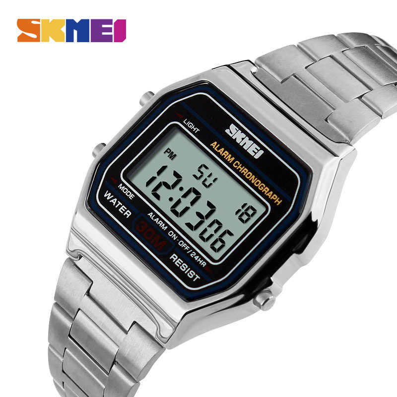 LED Digital Watch Men Sports Watches men's Relogio reloj hombre Stainless Steel Military Waterproof Wristwatches SKMEI 2018