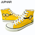 JUP 5 Pair  Shoes Men's Males's Despicable Me Minions Canvas Casual Shoes Males High Shoes hand-painted Espadrilles Rubber Boots
