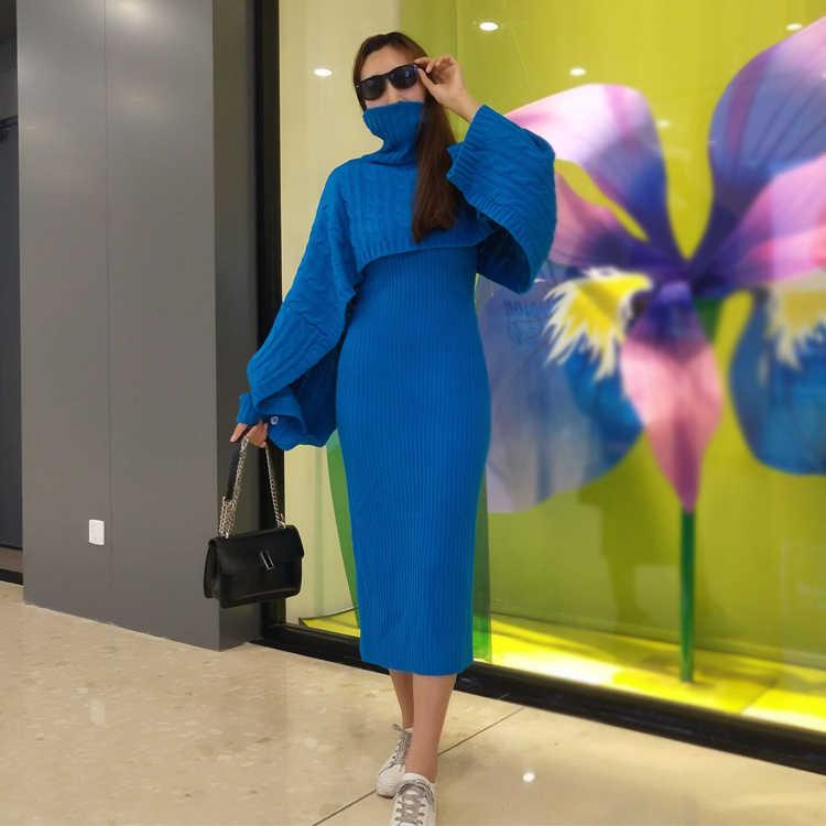 HAMALIEL подиумное зимнее женское платье из 2 частей синий плащ вязаный Turtlenek Свободный укороченный + жилет длинный Сплит Bodycon юбка-карандаш костюмы