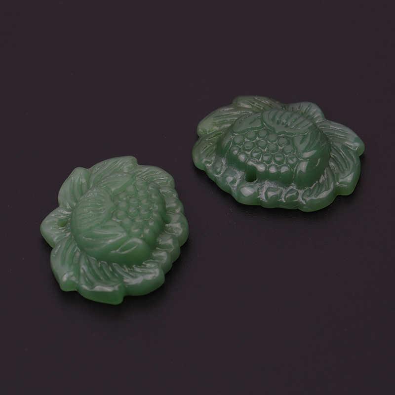 1 шт. Яркий ручной резной цветок лотоса натуральный зеленый жадеит ювелирный кулон
