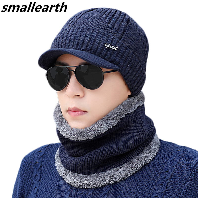 New Winter Warm Hat Set Men Thickened Baseball Cap Plus Velvet Men's Beanies Hat Cap Scarf Father Knitted Hats Collar Scarf Set