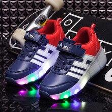 Детская один раунд прогулочная обувь красочные светоизлучающих модная обувь модные тенденции блеск кроссовки
