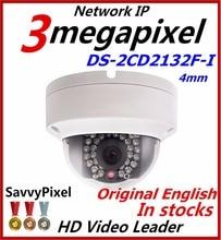 Original HiK English 3MP PoE IP Camera DS 2CD2132F I IR Full HD 1080P Outdoor IP66