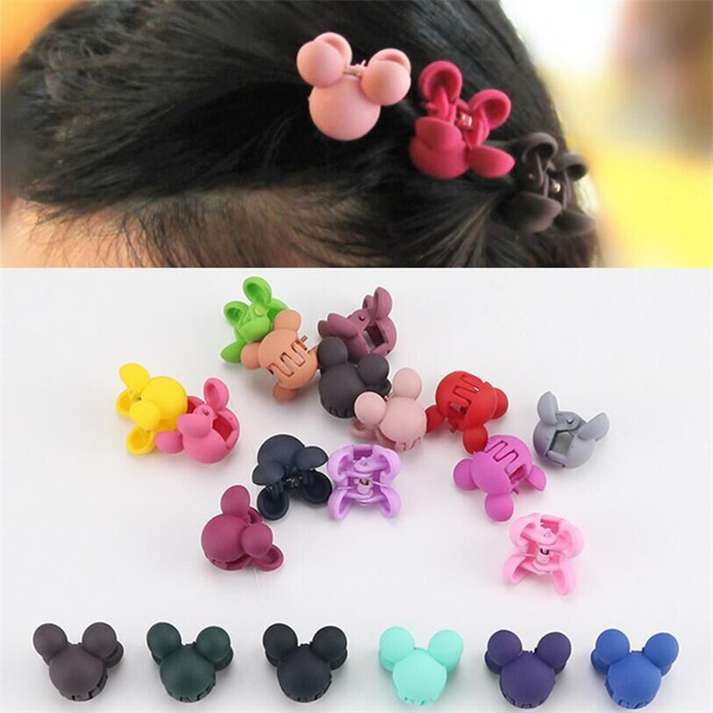 Isnice Cartoon Flower Cute Rabbit Children Hair Gripper Lovely Candy Color Mini Scrub Small Crabs Hair Claw Flower Hair Clips