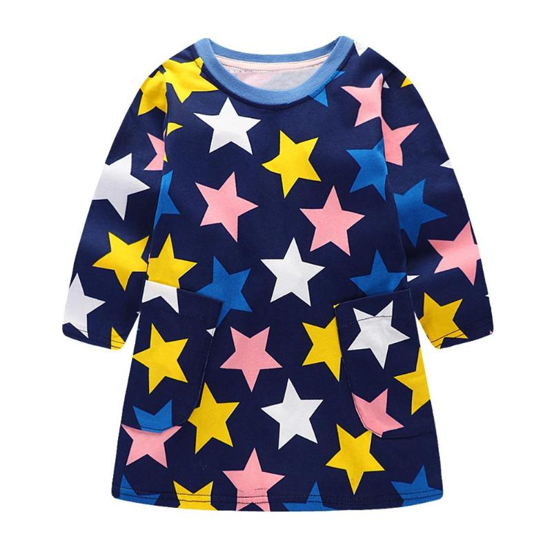 Baby Casual Autumn Cute Stars Print Basic Cotton O-Neck Dress Girls Long Sleeve Clothes