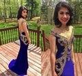 2016 barroco Designs largo Royal Blue Prom Vestidos con Sheer volver lentejuelas adolescente vestido de fiesta Vestidos párrafo Formaturas