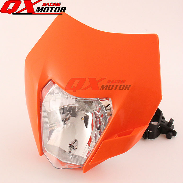 Motorcycle Dirt Bike Motocross Supermoto Universal Orange Headlight For 2016 KTM SX EXC XCF SXF SMR Headlamp universal orange
