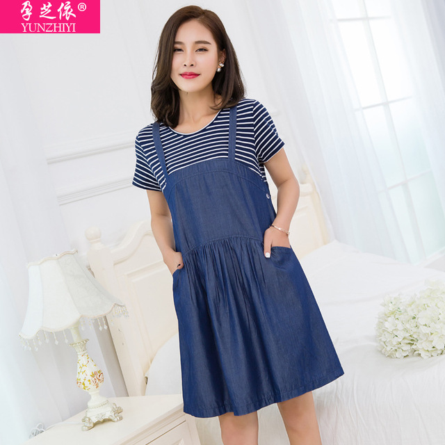 1515d3e6e32 YUNZHIYI fake 2 pieces maternity denim dress short sleeved Korean summer  Thin Maternity dresses work wear