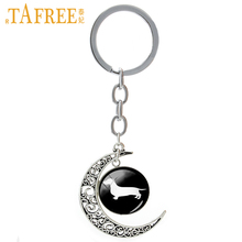 TAFREE Dachshund Silhouette Keychain Fashion Vintage Key Chain Ring Animal Key Ring Gift For Men Women Jewelry Accessories T354
