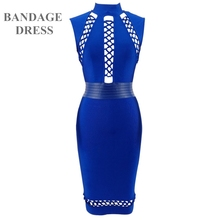 2017 High quality hollow out women summer sexy blue rayon bodycon bandage dress elegant knee-length Dresses celebrities clubwear