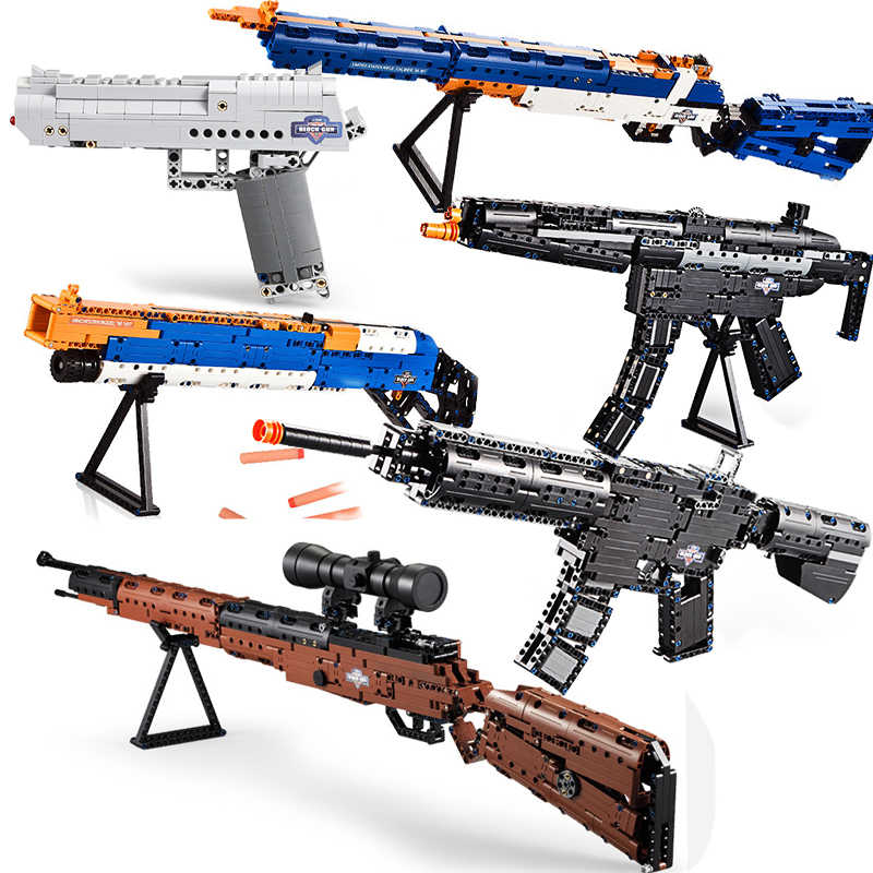 Compatible Legoing Revolver Pistol Power GUN SWAT Military WW2 Weapon 98K Desert Eagle Submachine Models Building Blocks Toys