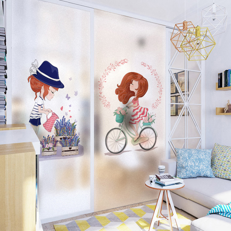Cute Girl Style Static Removable Sunscreen Window Glass Sticker Sunscreen Insulation Glass Window Self-adhesive Film -30 ...