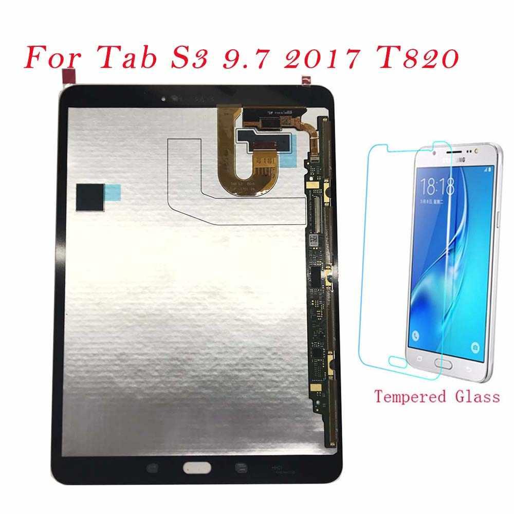 اللوحي شاشات LCD لسامسونج غالاكسي تبويب S3 9.7 2017 T820 T825 T827 شاشة الكريستال السائل محول الأرقام بشاشة تعمل بلمس لوحة استبدال T820 T825 LCD