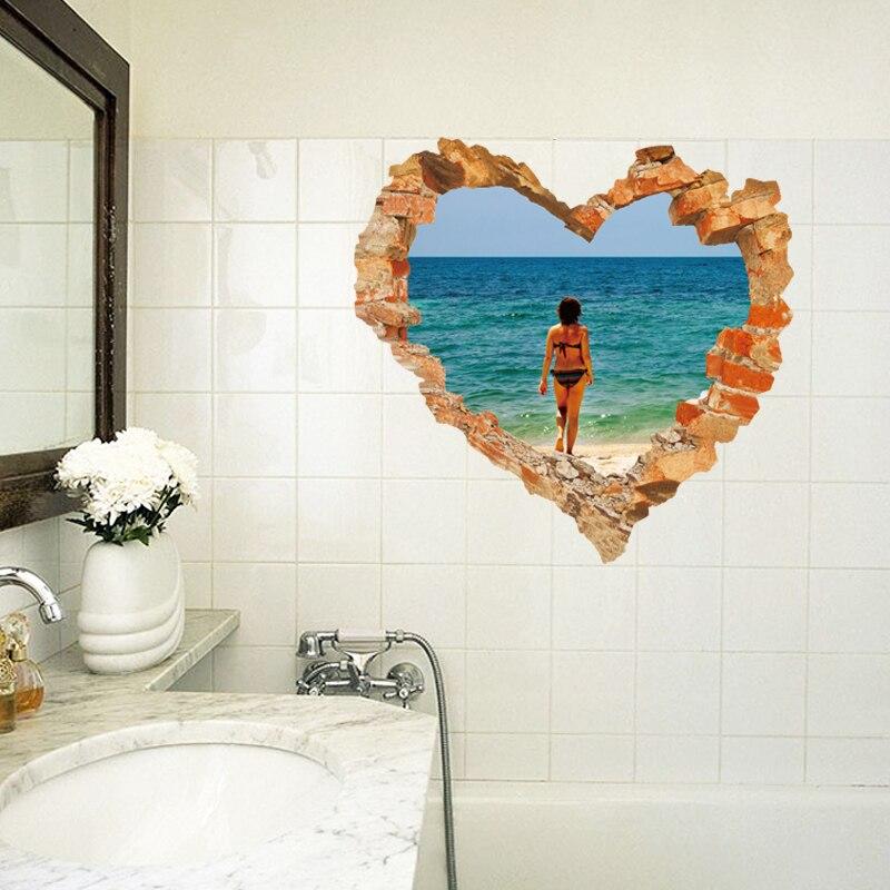 spedizione gratuita autoadesivo impermeabile 3d cuore adesivi per piastrelle bagno rimovibile home decor wall decals