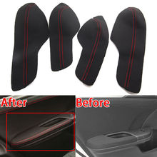 For Honda Civic 10th 2016 2017 2018 4pcs Door Armrest PU Leather Surface Shell Cover Trim Black Decorative Accessories цены онлайн