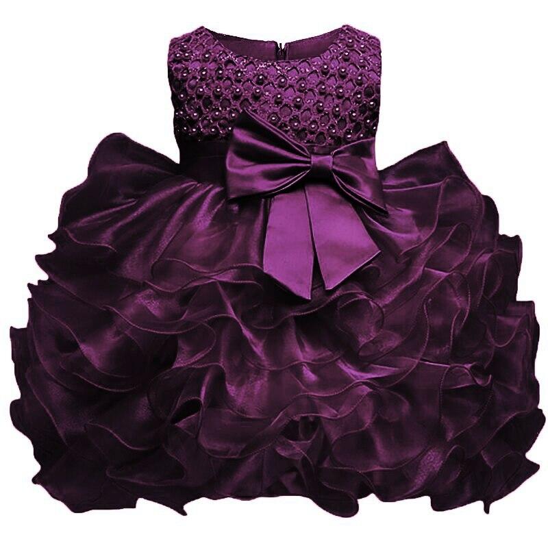 Baby Girl Baptism Dress Toddler Girl Christening Purple Gown Infant Tulle Kids Party Dresses for Little Girls 1 Year Birthday