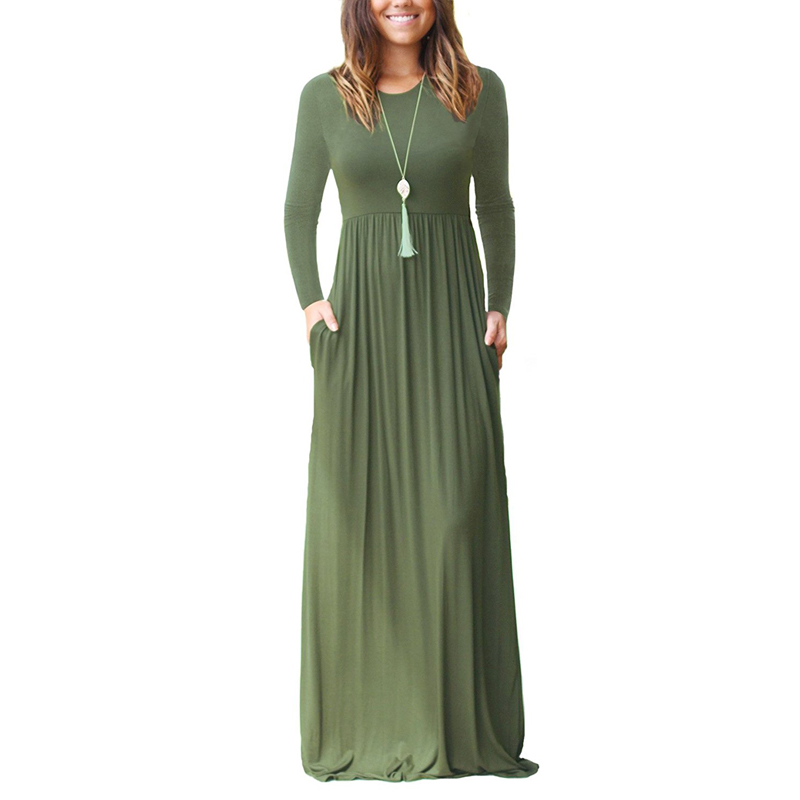 Autumn Long Sleeve Maxi Bottom Maternity Dress For Pregnant Women Clothes O-neck Solid Dress Pregnancy Vestidos Gravida Clothing long sleeve waisted maxi dress