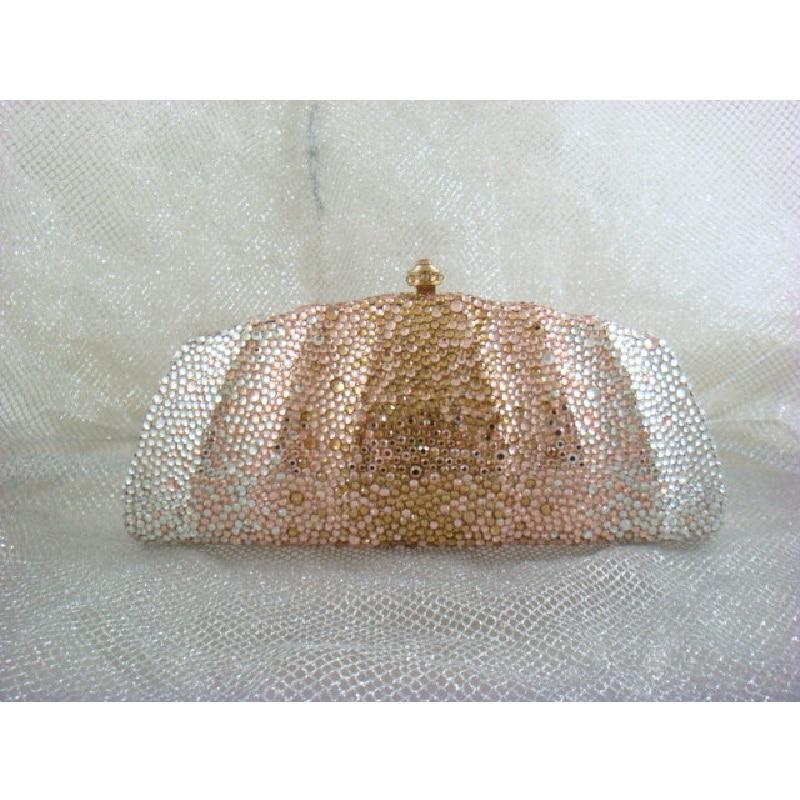 ФОТО 7746Z Crystal Clear / Peach / Gold Lady fashion Bridal Metal Evening purse clutch bag case box handbag