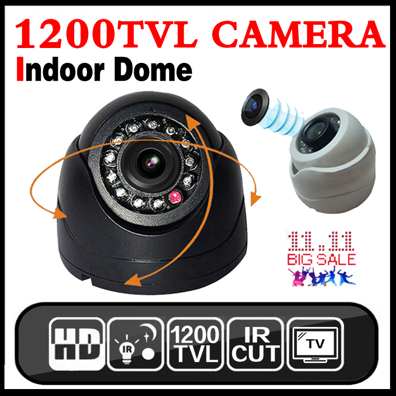 цена на Very small 1/3cmos 1200TVL Mini Indoor Dome Hd Cctv Security small Camera IRcut 12LED Infrared Night Vision 20m color home Vide